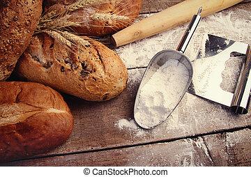 utensilios, panes, cocina, casero