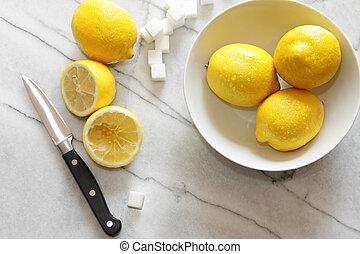 fresco, limones, azúcar, cubos, Mármol,...