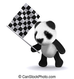 3d Baby panda bear waves the checkered flag - 3d render of a...