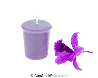Spa and aroma therapy setting with orchid and candle isolated on