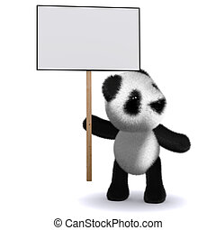 3d Baby panda bear with a placard - 3d render of a baby...