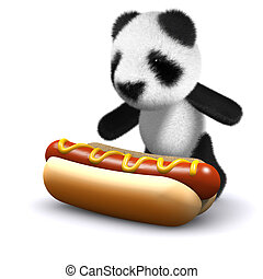 3d Baby panda bear loves hotdogs - 3d render of a baby panda...
