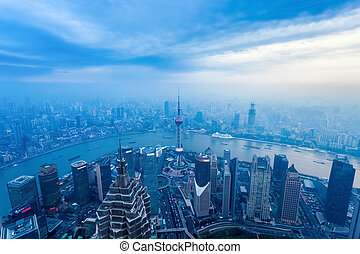 aerial view of the dusk scene in shanghai