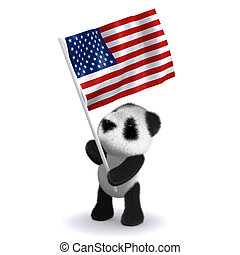 3d Baby panda bear carrying the Stars and Stripes - 3d...