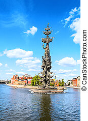 The monument to Czar Peter the Great in Moscow, located at...