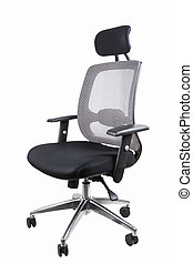black office swivel chair isolated on white with clipping...
