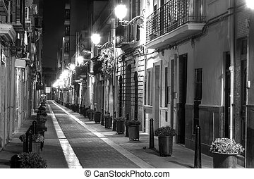 European Narrow Street - A Narrow Street at Night in Europe