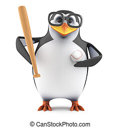 3d Academic penguin plays baseball - 3d render of a penguin...