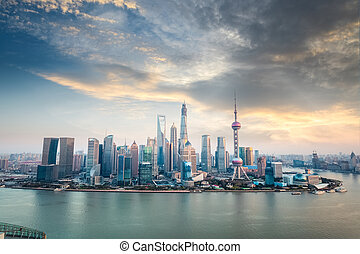 shanghai financial district skyline at dusk , high angle...