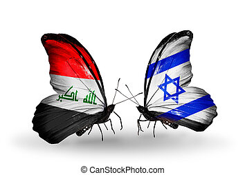 Two butterflies with flags on wings as symbol of relations Iraq and  Israel