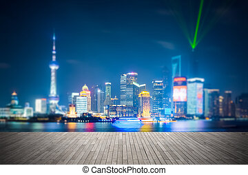dreamlike city background of shanghai skyline at night ,...