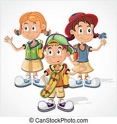 Schoolchildren vector - Funny schoolchildren in colorful...