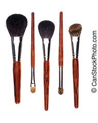 Five brushes in parallel on white background - Five brushes...