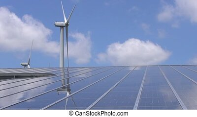 wind mill and solar panel