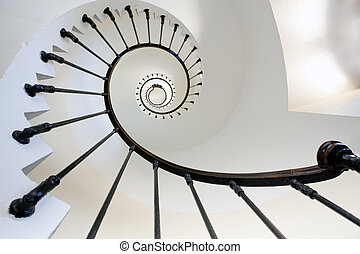 lighthouse staircase - wide angle view of Grave lighthouse...