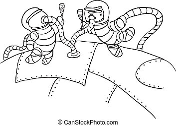astronauts in outer space, vector