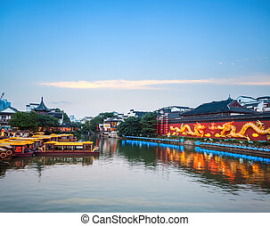nanjing confucius temple at dusk - nanjing scenery of the...