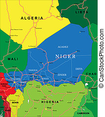 Niger map - Highly detailed vector map of Niger with...