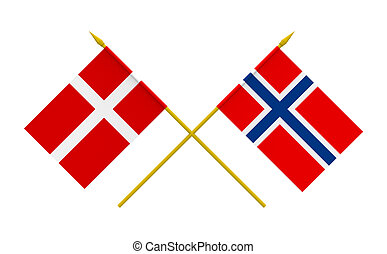 Flags, Denmark and Norway - Flags of Denmark and Norway, 3d...