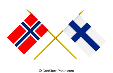 Flags, Finland and Norway - Flags of Finland and Norway, 3d...