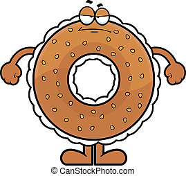Cartoon Bagel Grumpy - Cartoon illustration of a cream...