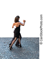 tango  - Young couple dancing Tango in the street
