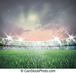 Soccer stadium - Illuminated soccer stadium during sunset...