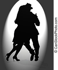 tango silhouettes - Young couple dancing Tango in the street...