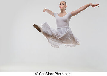 Young and beautiful ballet dancer posing isolated - Full...