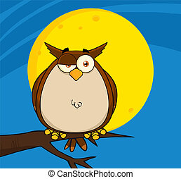 Owl Cartoon On Tree In The Night