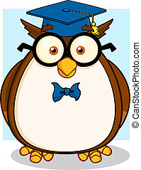 Wise Owl Teacher With Glasses
