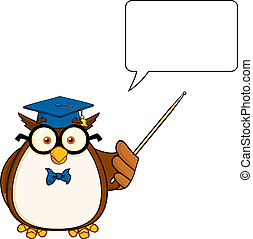Wise Owl Teacher With A Pointer