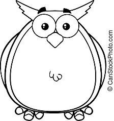 Black And White Owl Cartoon Mascot Character