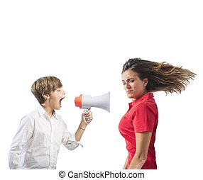 Child yells at her mother with megaphone