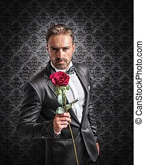 Give a rose on the anniversary - Gentleman gives a red rose...