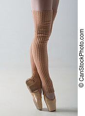 Closeup of ballet shoes dancing in pointe