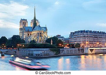 Notre Dame de Paris at night - Notre Dame de Paris cathedral...