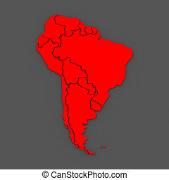 Map of worlds. South America. 3d