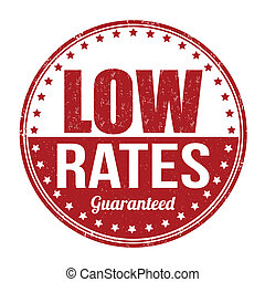 Low rates stamp - Low rates grunge rubber stamp on white,...