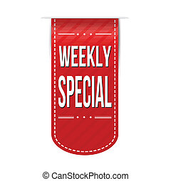 Weekly special banner design over a white background, vector...
