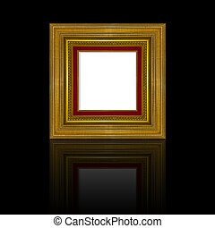 Picture frame gold wood frame in black background.