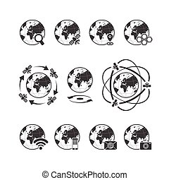 Global communications icon set with globe earth on white...