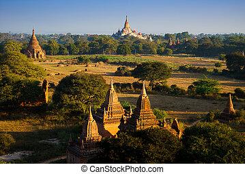 The Temples of bagan at sunrise, Bagan, Myanmar - The...