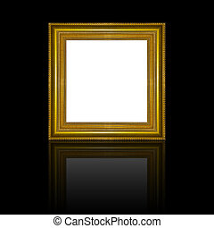 Picture frame gold wood frame in black background.