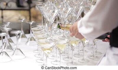 Champaign being pored into glasses - Champaign Champaign...