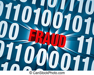 Cyber Fraud Hidden in Computer Code - Red FRAUD is embedded...