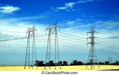 Power lines in California - Power lines in California blue...