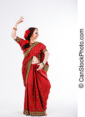 european girl in red indian saree - european brunette girl...