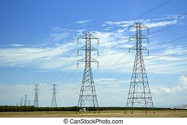 Power lines in California. - Power lines in California blue...