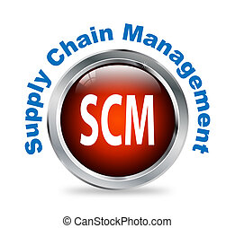 Round button of supply chain management - scm - Illustration...